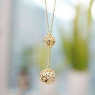 Korean Fashion Cute Golden Ball Sweater Chain Necklace