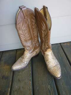 stitched Leather & Tan Snake Skin Western Boots Beautiful 7 M
