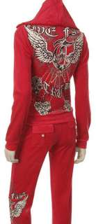 Red Velour Angel Wing & Rose Print Rhinestone Tracksuit S, M, L, XL