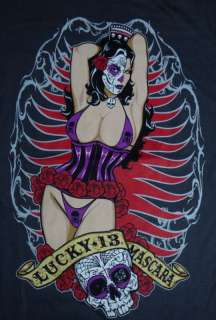 LUCKY 13 SHIRT ROCKABILLY TATTOO DAY OF THE DEAD PIN UP DIA LOS