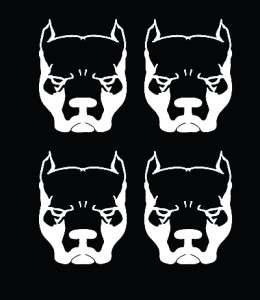 Pit Bull Dog Head Vinyl Decal Sticker Set 4pcs