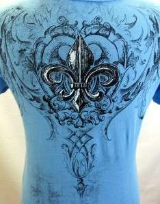 VOCAL BlueTattoo Fleur de Lis Rhinestone Shirt Top NEW