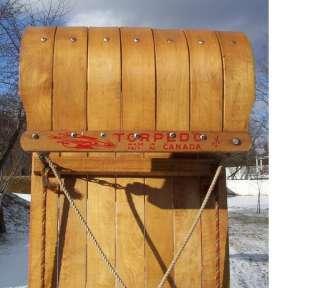 VINTAGE Wooden Snow Toboggan TORPEDO Sled 72x17 Sledding W@W