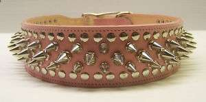 GENUINE LEATHER PINK SPIKED DOG COLLAR PITBULL HIGH QUALITY US MADE