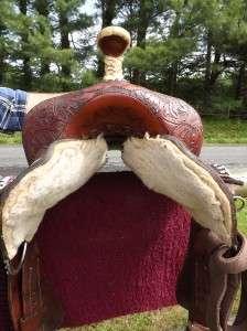 14.5 Seat Used Tex Tan Hereford Brand Barrel Racing Saddle, Tooled