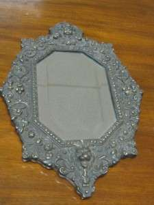 ANTIQUE BEAUX ARTS CAST IRON WALL MIRROR   ANGEL, LION & BEVELED GLASS