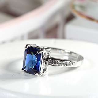 Fashion Jewelry BLUE SAPPHIRE WHITE GOLD GP COCKTAIL GEM RING SIZE 7/O