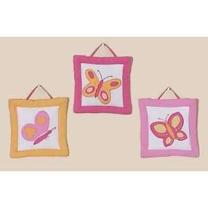 Pink and Orange Butterfly Wall Art Hangings: Home & Kitchen